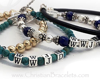 Gold Silver Gemstone and Leather WWJD Bracelets